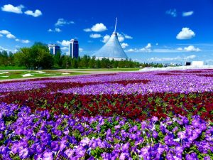 Flowers and a futuristic building in the back, taken on my Backpacking trip around Kazakhstan
