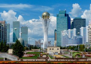 The futuristic skyline of Astana, one of my highlights backpacking in Kazakhstan