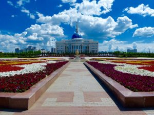 The beautiful presidential palace I've seen while backpacking Astana