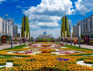 Astana's futuristic building, one of my stops while backpacking Kazakhstan