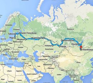 A map with my trans-siberian railway itinerary
