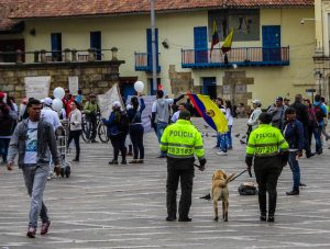 Lot's of police men making Bogota safe in South America