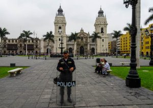 A police guard in Lima, who makes sure you stay safe while backpacking South America