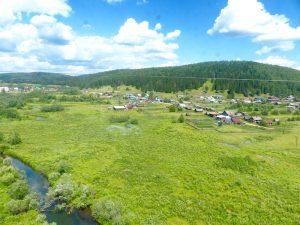 Gründe Landschaft und Dörfer, ein Teil der typischen Transsibirischen Eisenbahn Erfahrung