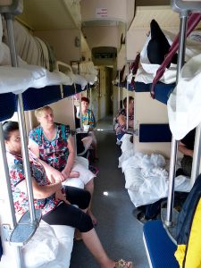 The compartments inside of the Trans-Siberian railway with locals
