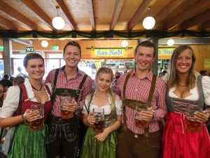 With my friends at Oktoberfest, one item on my travel bucket list