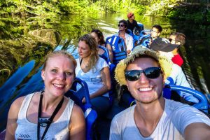 Sitting in a canoe on the Amazon tour in Ecuador