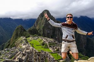 Jumping in the air after backpacking to Machu Picchu