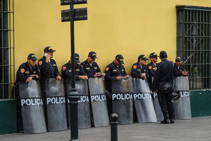 Many police men making your backpacking trip in South America safe