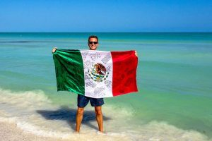 With a Mexican flag at the end of my backpacking Mexico adventure