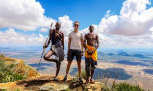 With two armed guides during the hike in Samburu county