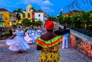 Caribbean dancers while backpacking Cartagena, Colombia