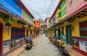 Streets of Guatape while backpacking in Colombia