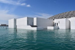 View of the Louvre on one day in Abu Dhabi