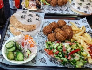 Israeli food: Bread vegetables and falafel