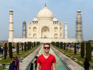 The Taj Mahal while backpacking India