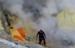 Workers in Ijen volcano in Java