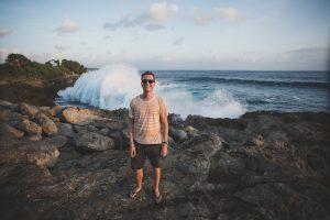 Waves crashing at Nusa Lembongan in Indonesia