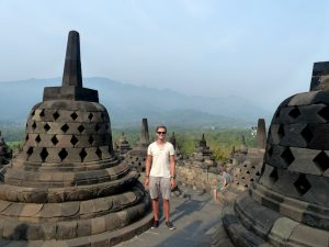 Borobudur Temple in Java when backpacking Indonesia