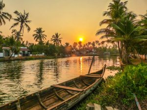 Sunset in the Kerala backwaters while backpacking