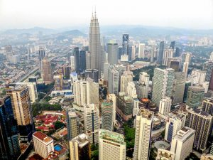 View from the KL Tower while backpacking Kuala Lumpur