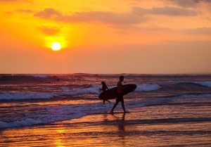 Surfing is fun when backpacking around Bali
