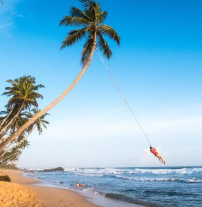 Famous rope swing on the beach
