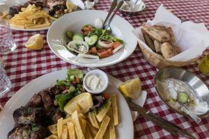 Lunch table at Hondros Tavern in Paphos