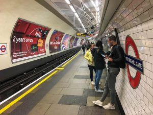 tube station on a London backpacking trip