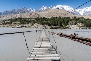Walking on the Husseini suspension bridge with IESS IBA Pakistan
