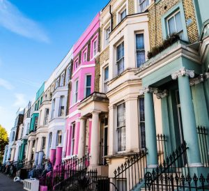 Colorful houses of Notting Hill