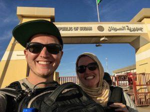 Selfie am Grenzübergang vom Sudan bei meiner Reise