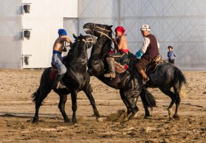 Er Enish Pferdewrestling Wettkampf der World Nomad Games Kirgistan