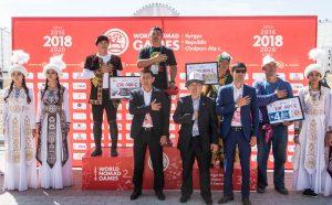Eine Siegerehrung bei den kirgisischen World Nomad Games 2018