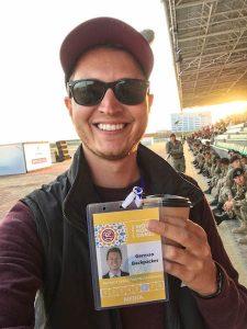 Selfie mit Pressepass bei den World Nomad Games Kirgistan