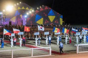 Flaggen der Länder als Teilnehmer der World Nomad Games 2018 in Kirgistan