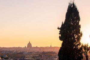 Sonnenuntergang auf der Villa Borghese, Rom