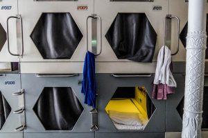 Außenansicht der Kapseln im Londoner Hostel