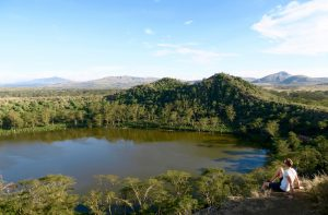 View of a lake in Kenya while backpacking in Africa