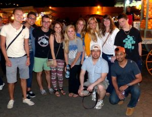 Group of backpackers in Marrakech