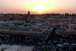 Medina von Marrakesch beim Sonnenuntergang