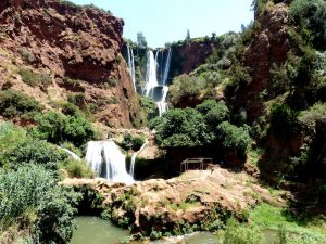 Waterfalls while backpacking Morocco