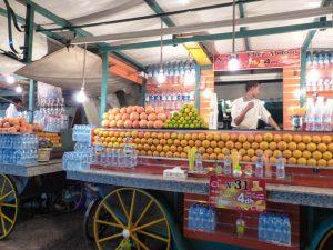 Fruit juice stands in Marrakech