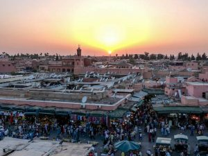 Sunset in Marrakech's medina while backpacking