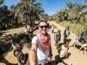 Locals in villages while backpacking Sudan