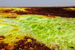 Toxic landscape while backpacking Ethiopia in Dallol