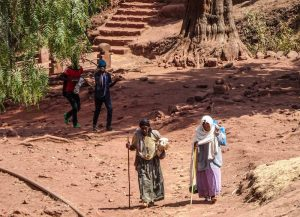 Locals walking around Lalibela