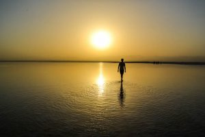 Walking through the salt lake for sunset