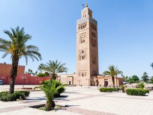 Blick auf Turm der Koutoubia Moschee