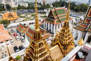 Blick vom Tempel auf Spitze Türme